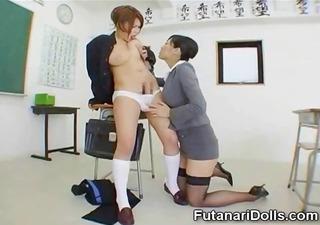 she is sucks futanari coed!